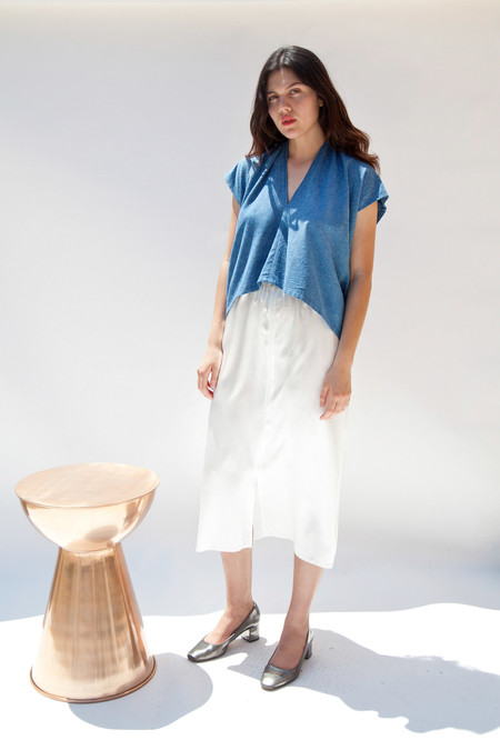Miranda Bennett In-Stock: Everyday Top, Cropped, Silk Noil in Indigo