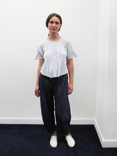Issey Miyake Kasuri Stripe Top - White