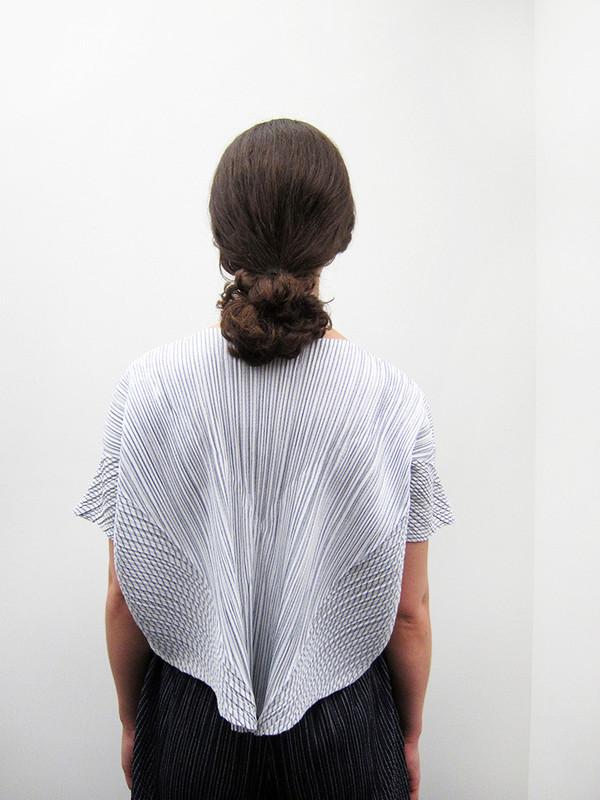 Issey Miyake Kasuri Stripe Top, White