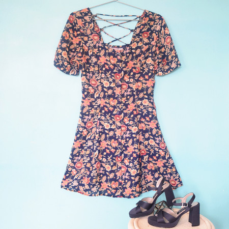 Friends & Neighbors Botanical Floral Dress + Mudd Shoes