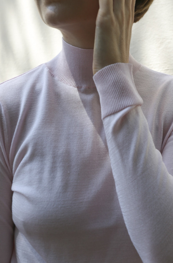 Objects Without Meaning Mock Neck Long Sleeve Top in Pink