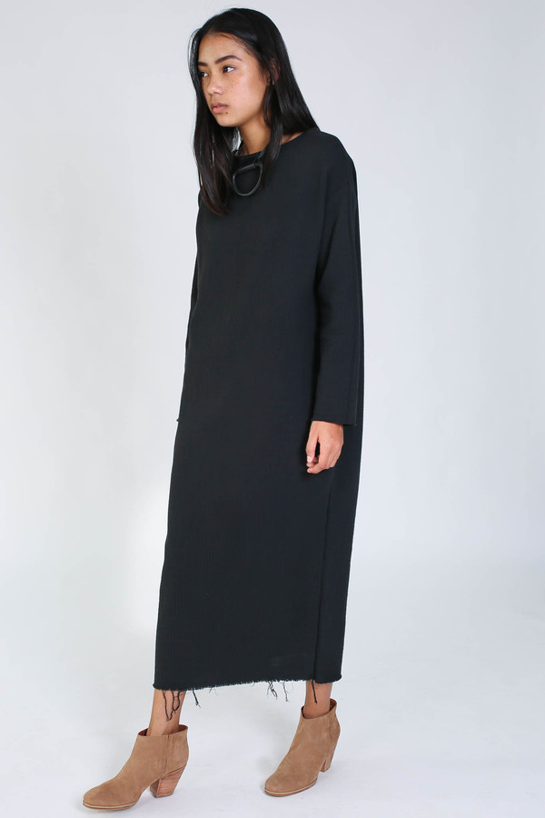 Black Crane Quilted long dress in black