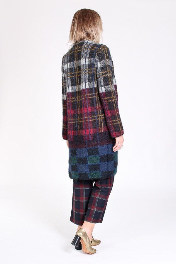 Suno Cardigan coat in plaid