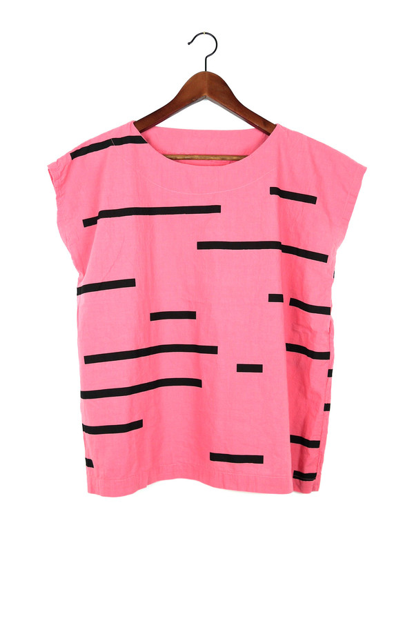Uzi NYC Rose Broken Stripe Tunic