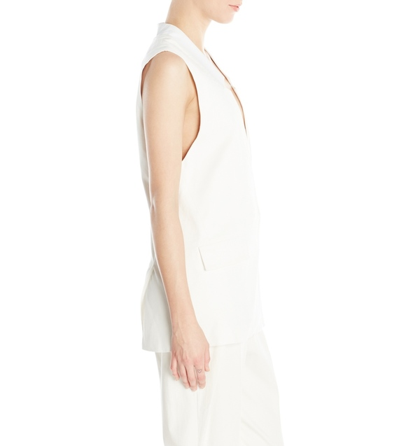 Vincetta White Notch Collar Vest