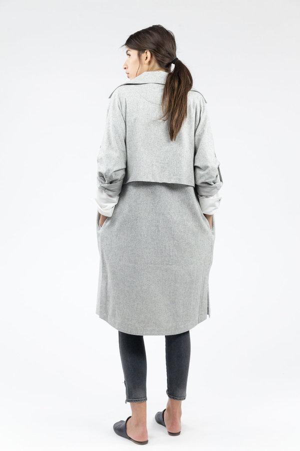 7115 by Szeki Wool Trench Coat - Light Gray