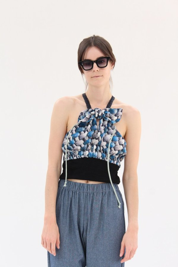 Hui Hui Beach Top Romantic Mesh Print Blue