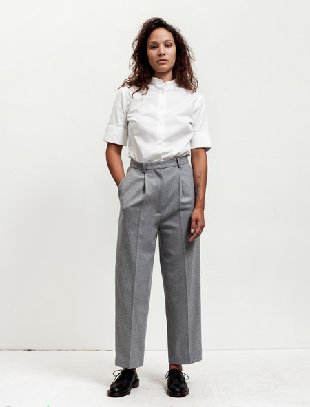 Acne Studios Womens Milli Wool Trousers Soft Grey