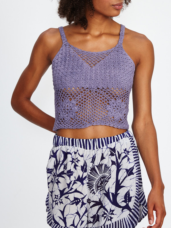 Harare CROCHET CROP TANK / PURPLE