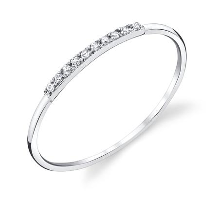 Gabriela Artigas 14K White Mini Axis Pave Ring