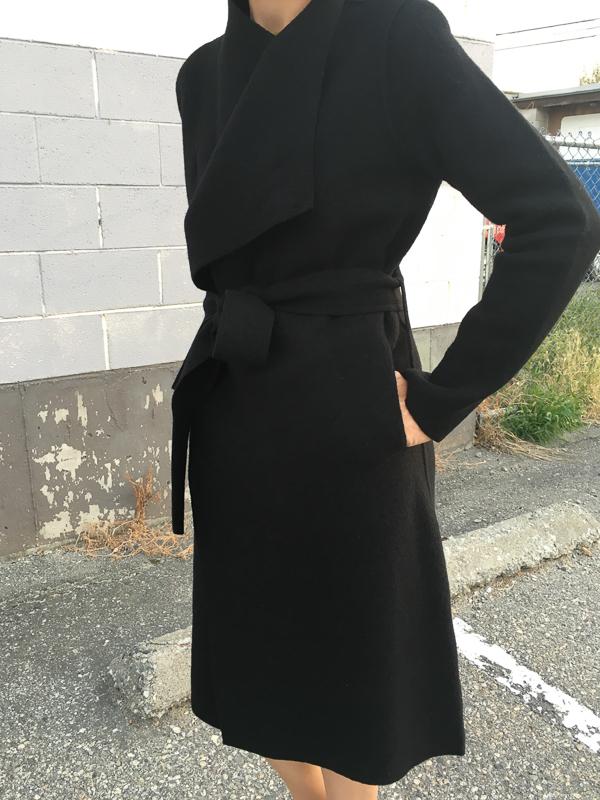 line boiled wool wrap coat