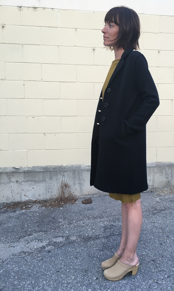 line boiled wool button coat