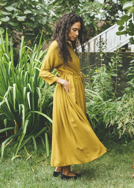 Black Crane - Pleated Dress in Gold Brown
