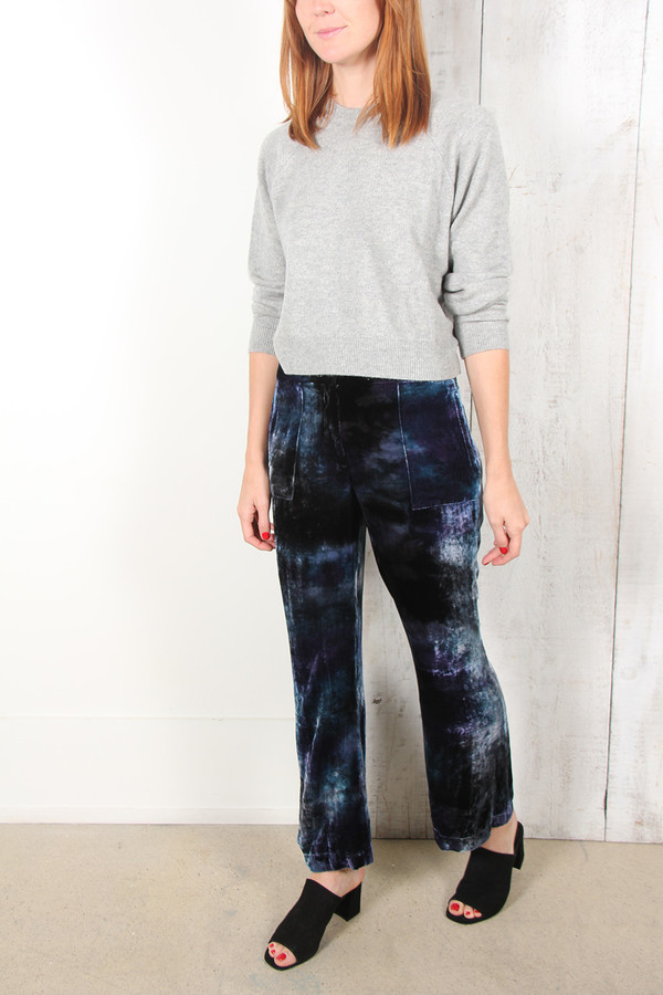 Raquel Allegra CROP FLARED VELVET TROUSERS