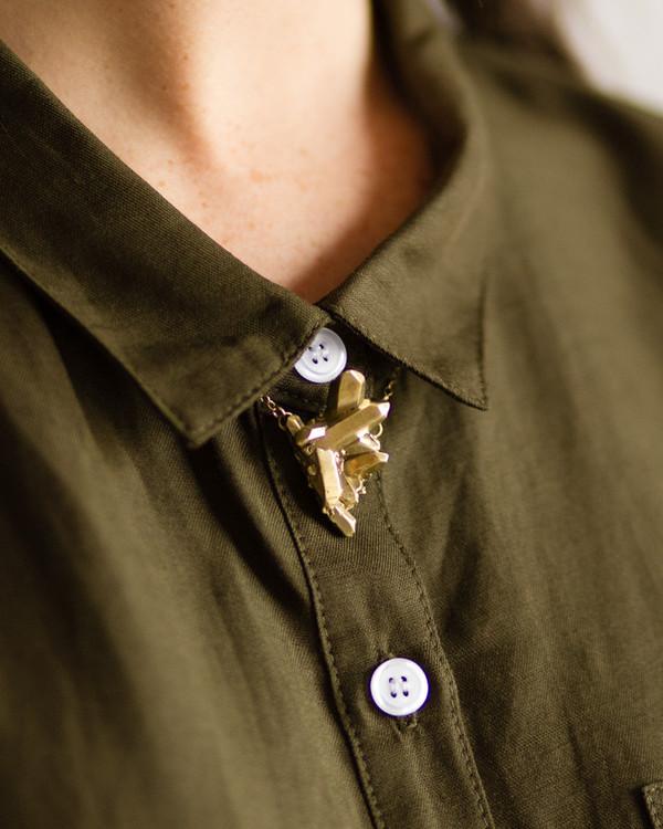 Dea Dia Crystal Cluster Necklace Brass