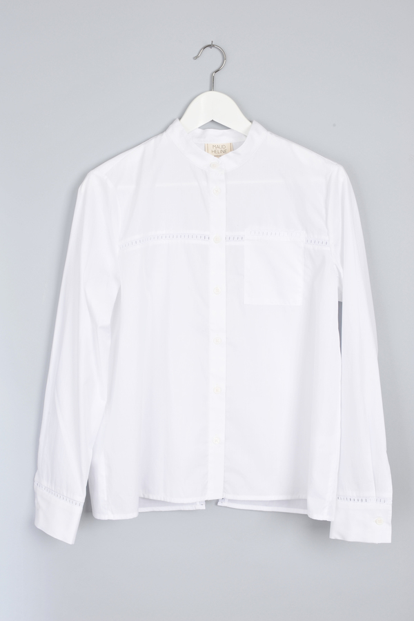 Maud Heline Cropped White Bazal Shirt With Lace and Back Panel