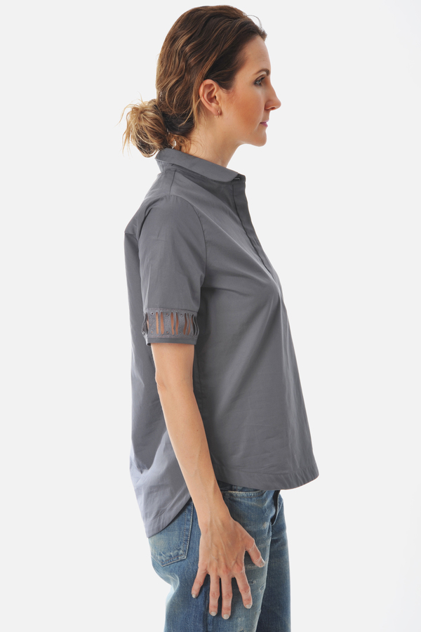 Charcoal Baroze Shirt With Peter Pan Collar by Maud Heline