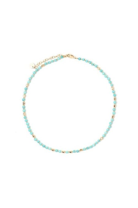 Tess+Tricia Turquoise + Gold Fancy Choker