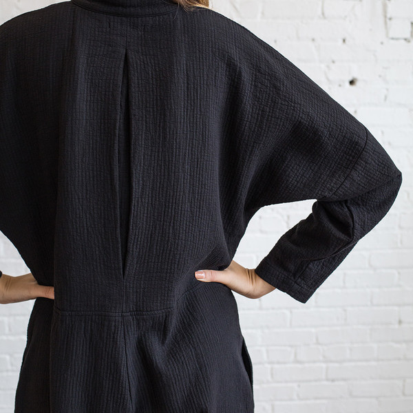 Black Crane Quilted Jumper