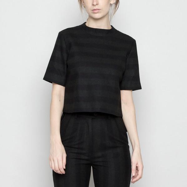 7115 by Szeki Mock-Neck Structured Top - Wool Stripe FW16