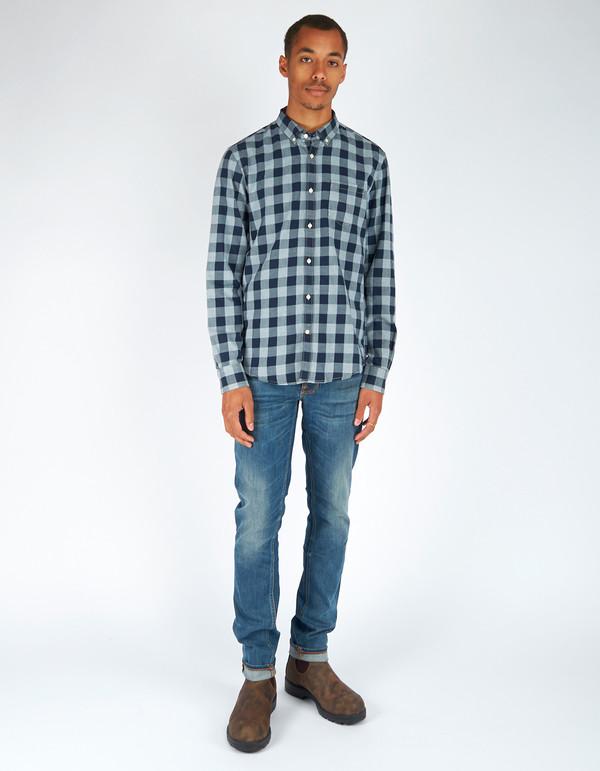 Woolrich John Rich & Bros. Indigo Check Shirt Navy Grey