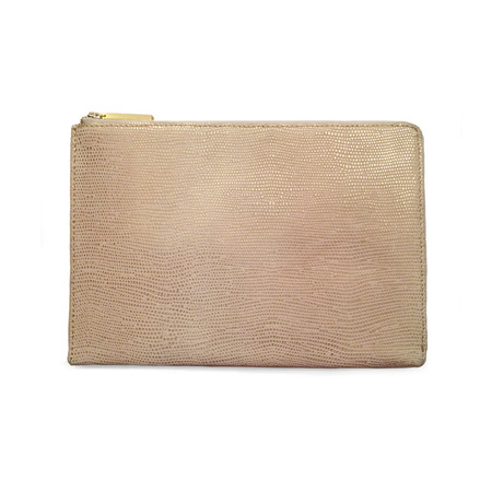 Eayrslee - Harper Clutch in Rose Gold Lizard