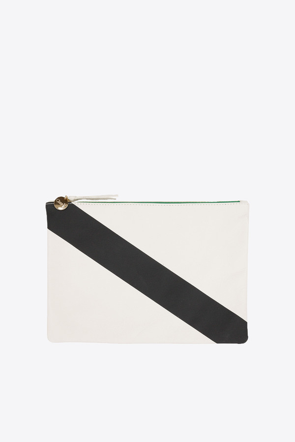 Clare V. Flat Clutch Supreme in cream with diagonal stripe
