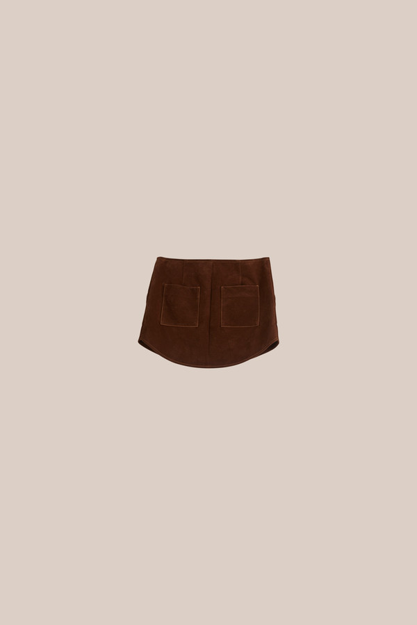 ÁERON Velvet Mini Skirt Brown