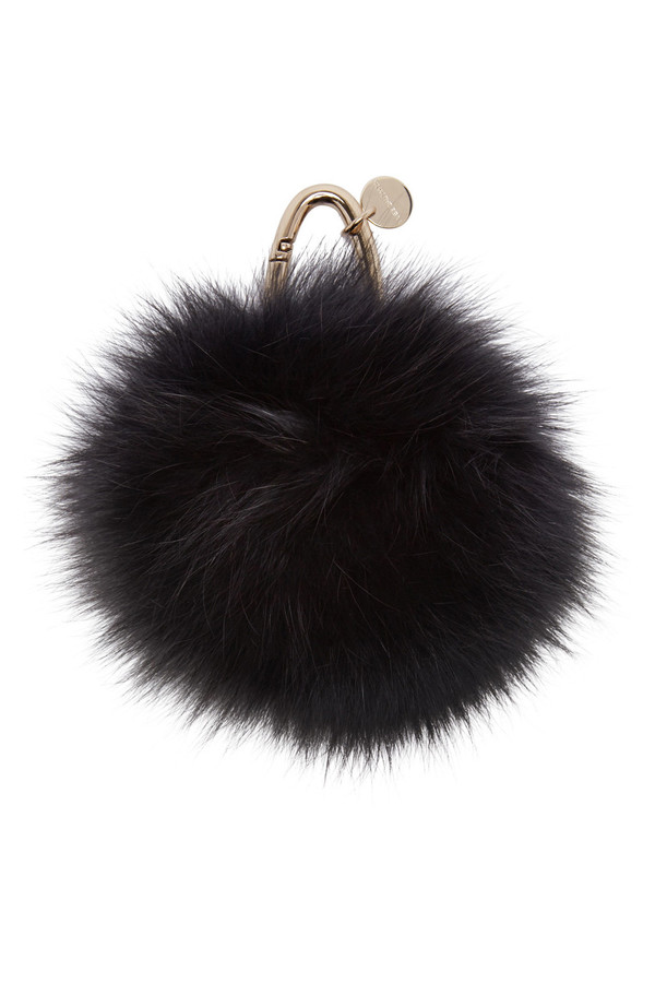 Yves Salomon BLACK FUR KEYCHAIN