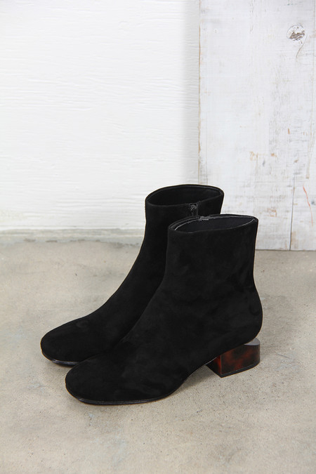 ALEXANDER WANG KELLY SUDE BOOT WITH TORTOISE HEEL