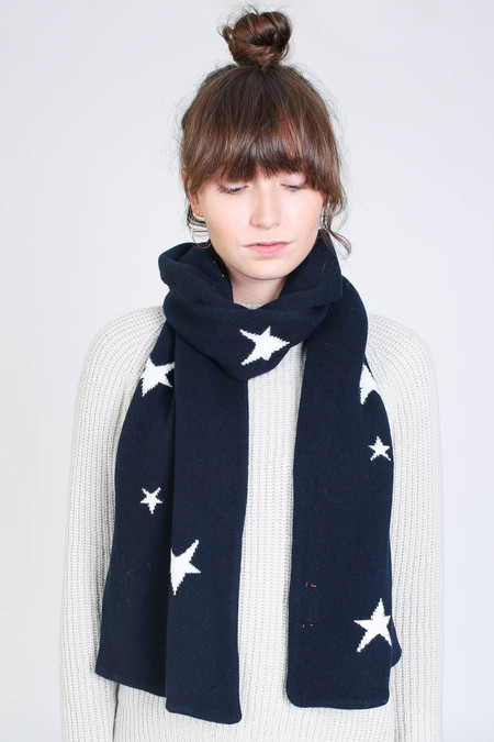 Chinti and Parker Star scarf in navy/cream