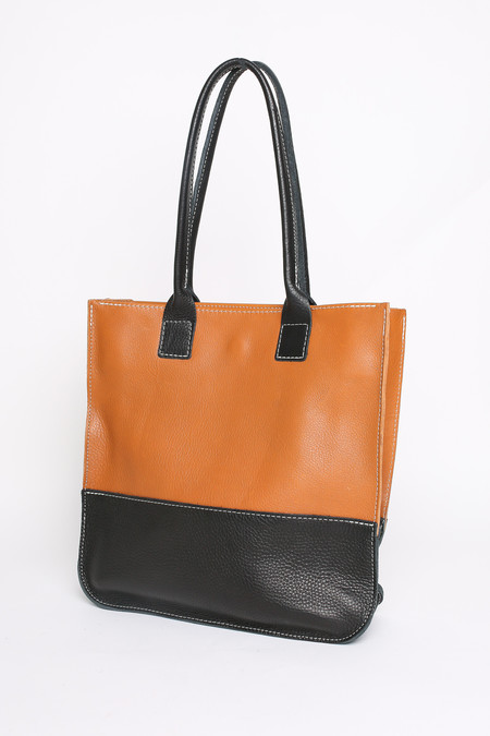 Mill & Bird Zoe II tote in tobacco and black