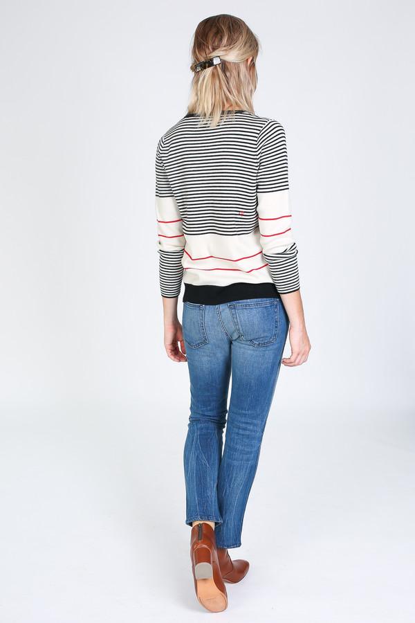 Chinti and Parker Fine Stripe Sweater in cream/black/red