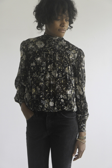 SomeLikeUs Vintage Donna Mizar Sheer Silk Floral Blouse