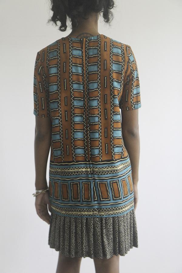 The Shudio Vintage Patterned Drop Waist Dress