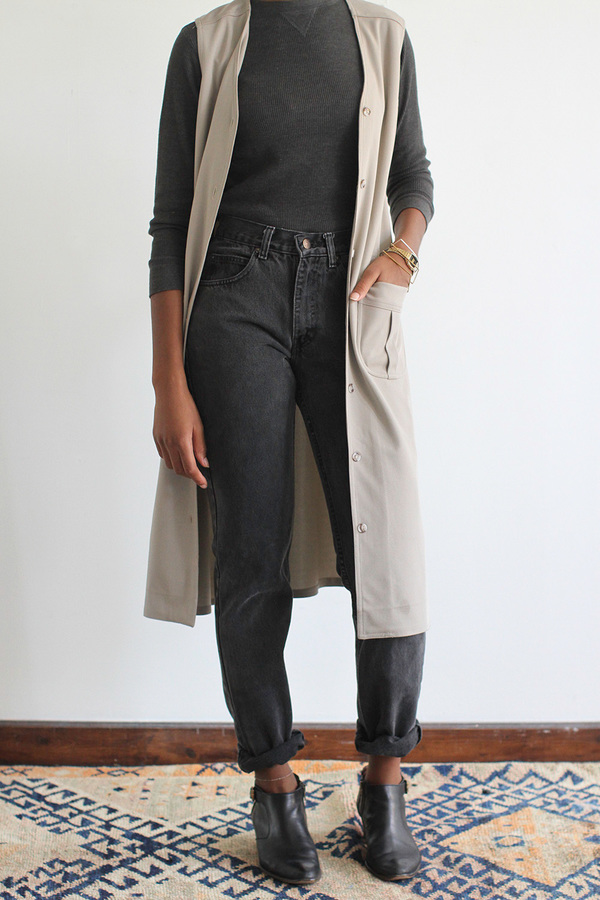 The Shudio Vintage Long Taupe Vest