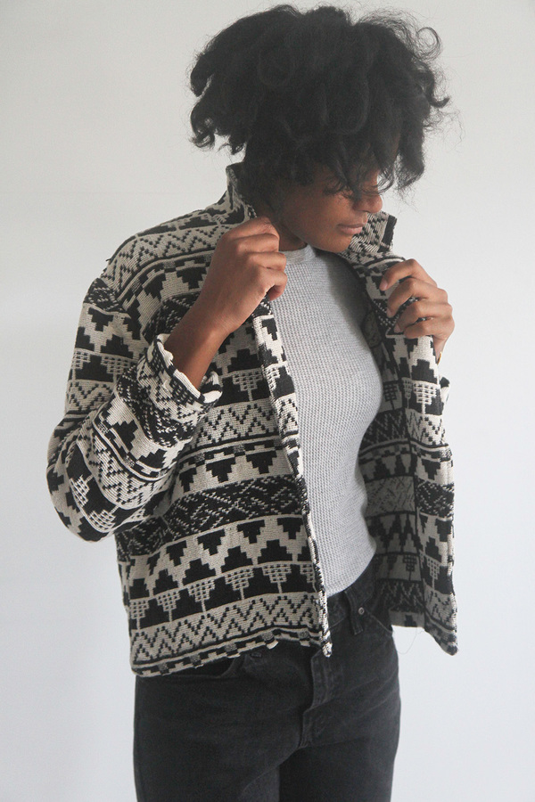 The Shudio Vintage Patterned Crop Jacket
