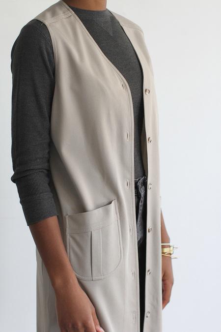 The Shudio Vintage Long Taupe Vest