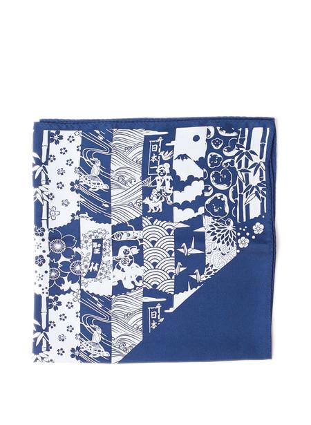 "Blue Blue Japan Unisex Woven ""Chiyogami"" Printed Silk Bandana"