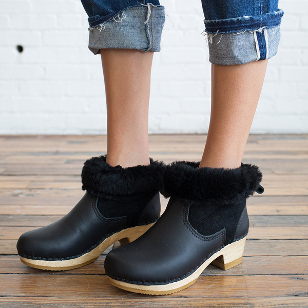 "No. 6 5"" Pull on Shearling Boot Mid Heel"