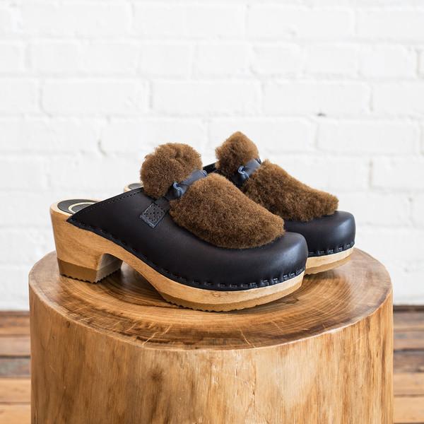 No. 6 Fur Slide Mid Heel