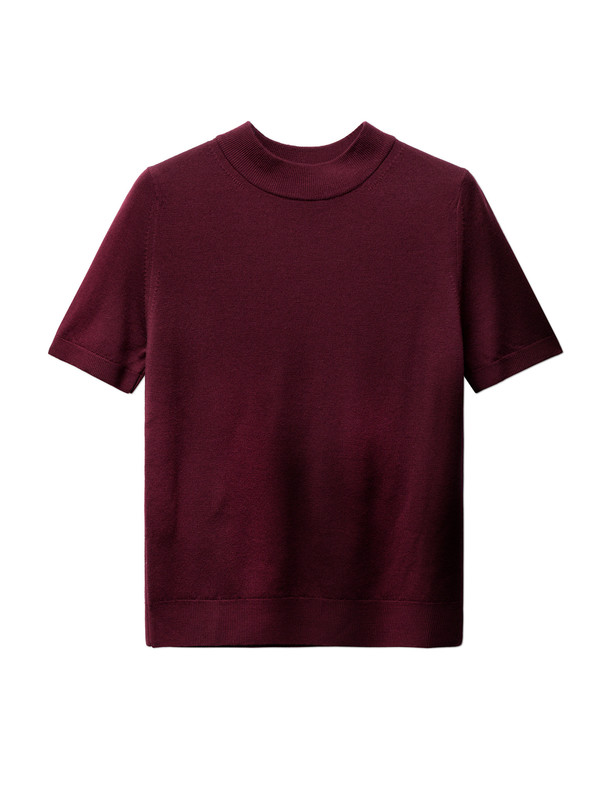 Sunspel Womens Funnel Neck T-Shirt Dark Redbrick