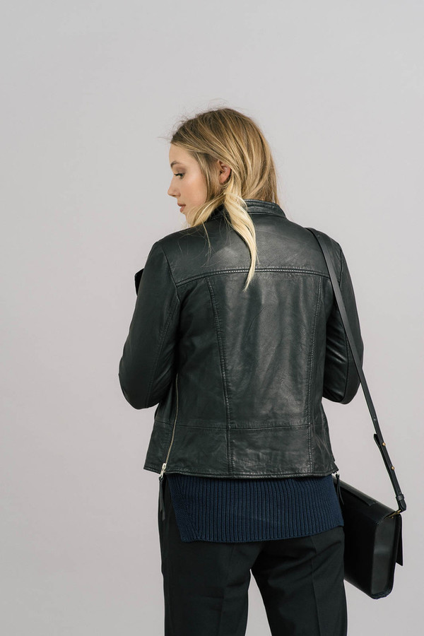 Just Female Stone Zip Leather Jacket
