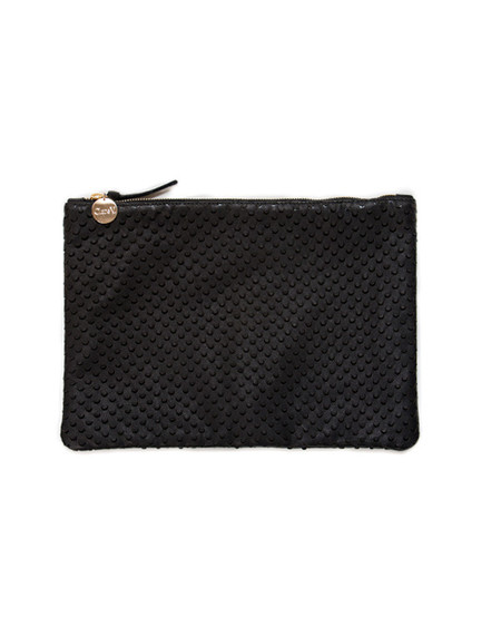 Clare V. Black Leather Flat Clutch with Cut Outs