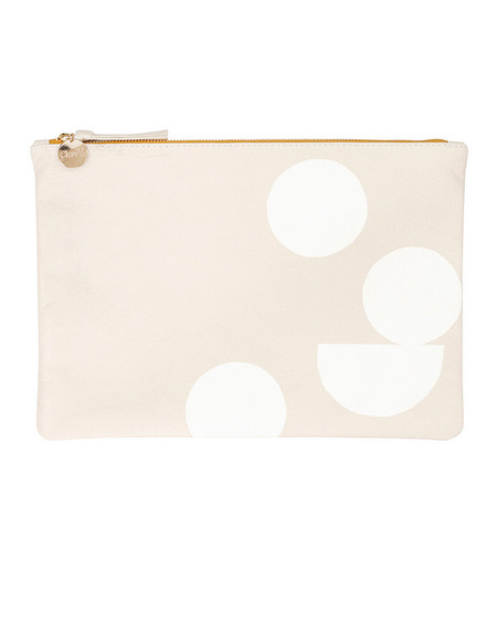 Clare V. Cream Leather Flat Clutch with White Circle Pattern