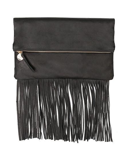 Clare V. Fringe Foldover Clutch in Black Leather