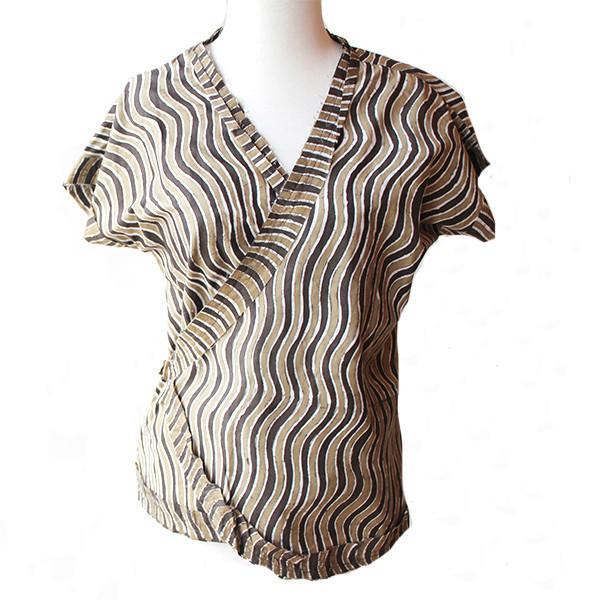Utopic - Brown Batik Wrap Shirt