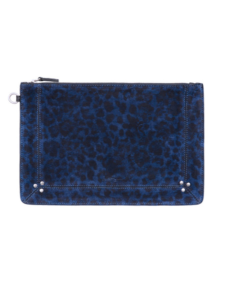 Jerome Dreyfuss Large Popoche in Blue Leopard Suede