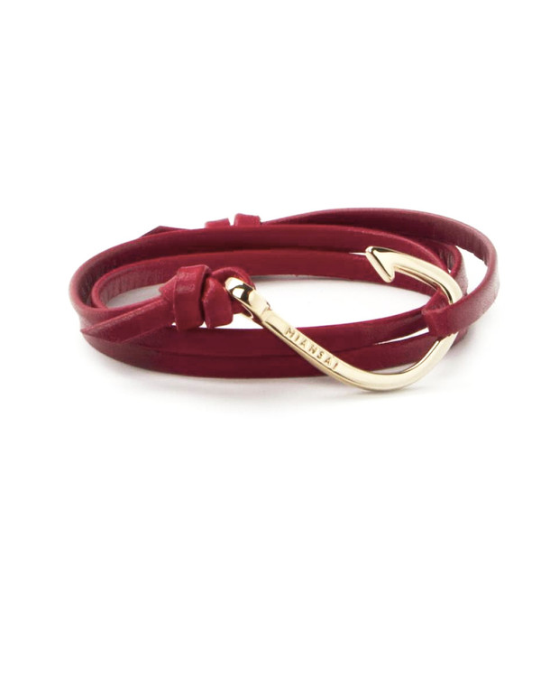 Miansai Gold Fish Hook And Red Leather Wrap Bracelet