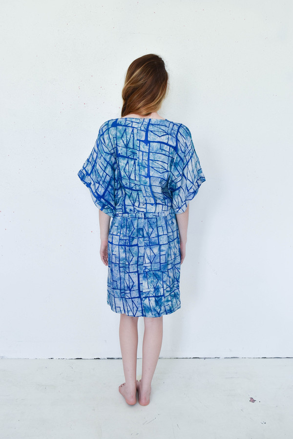 Osei-Duro Osei Duro Toss Kimono Dress in Waterbolt Print